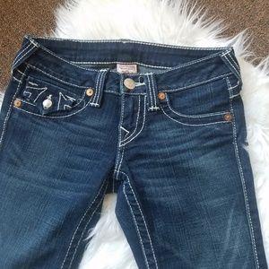 True Religion Joey Twisted Flare Blue Jeans Sz 25